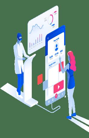 App Entwicklung Illustration Smartphone und Programmierer