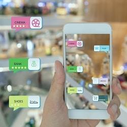 Einkaufszentrum mit Informationen aus Mobile AR App