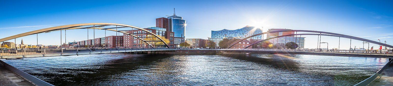 Blick über Hamburg mit Elbe und Elbphilharmonie