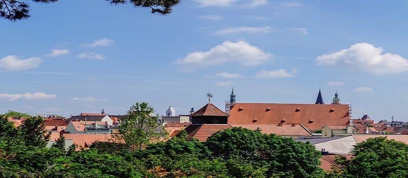 Blick auf die Skyline von Ingolstadt an der Donau