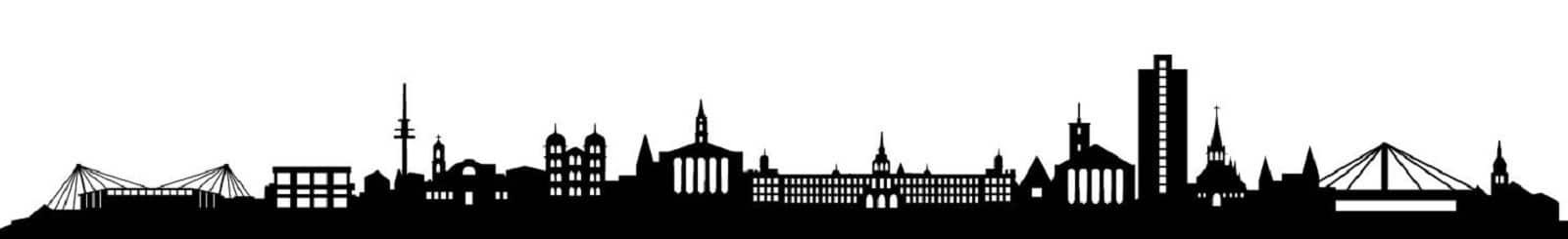 Sykline Karlsruhe mit Schloss, Pyramide und Wildparkstadion